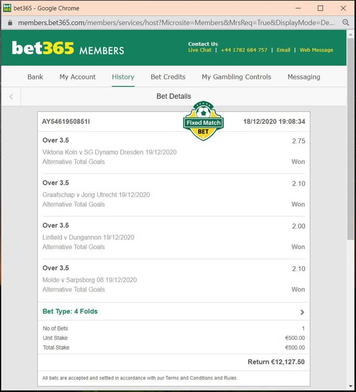 big odds ticket 4 fixed matches weekend