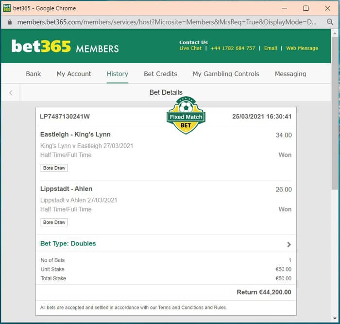 real double bets ht ft big odds