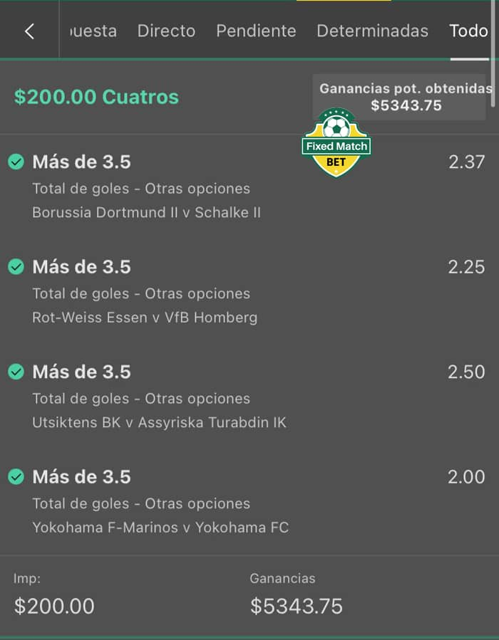 Saturday 4 Combo Fixed Matches Bets
