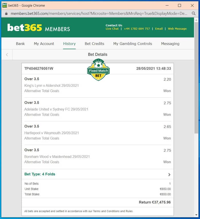 Ticket 4 Fixed Matches Tips