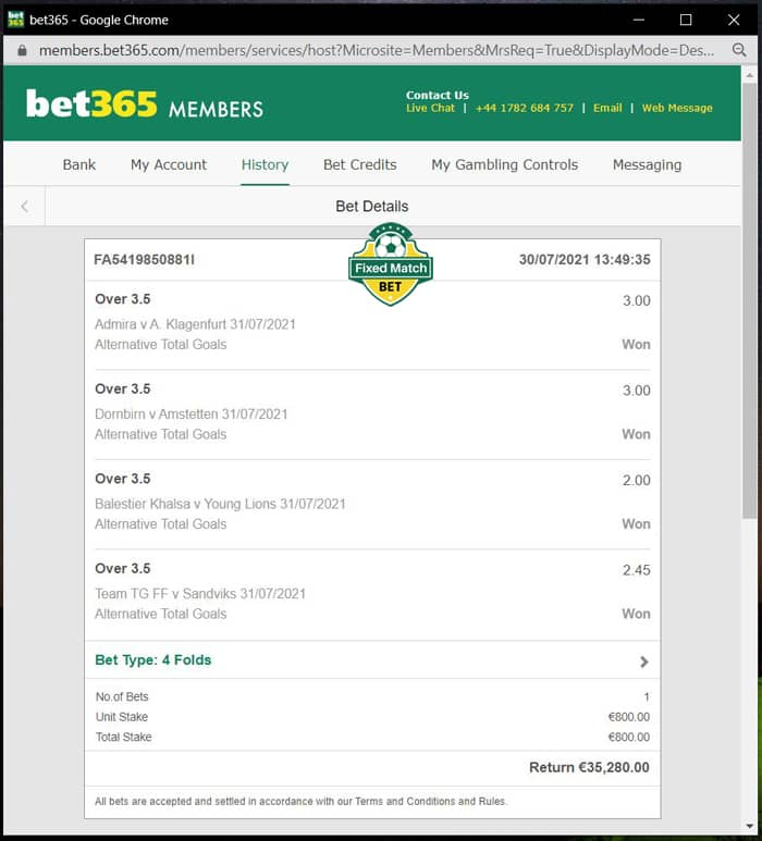 Sure Ticket 4 Fixed Matches Big Odds
