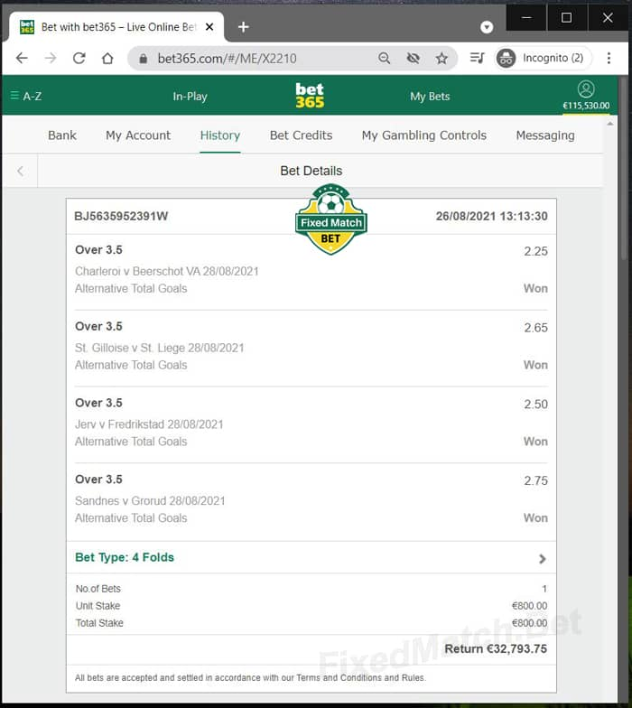 Ticket 4 Fixed Matches 100% Safe Odds