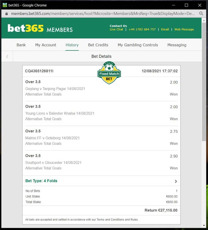Ticket 4 Fixed Matches Saturday